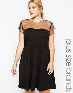 Cute! Carmakoma Sheer Yoke Skater Dress - £25.50 in the sale at ASOS